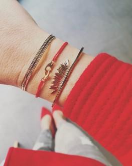 Composition bracelet jonc plaqué or barrette pétales femme - Bijoux Madame Vedette