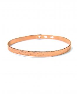 Bracelet jonc cadenas plaqué or rose martelé - Madame Vedette