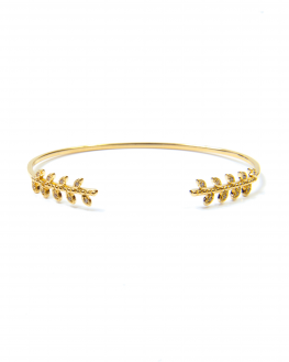 Bracelet jonc ouvert plaqué or motif laurier et oxyde zirconium - Madame Vedette