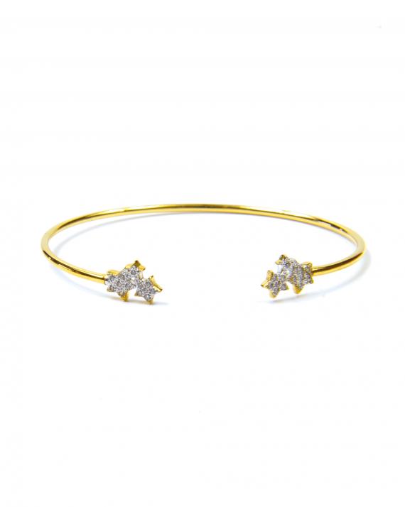 Bracelet jonc ouvert plaqué or motif étoiles orné d'oxydes zirconium - Madame Vedette