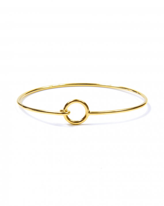 Bracelet jonc plaqué or accroche cercle - Madame Vedette