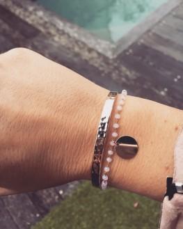 Acheter composition bracelet plaqué or perles et médaille tendance - Bijoux créateur Madame Vedette