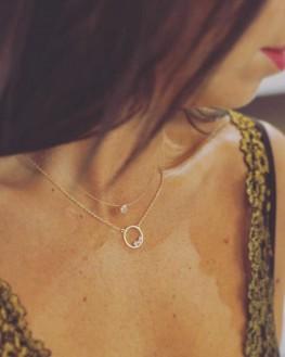 Collier chaîne anneau plaqué or brillants zircon - Idée cadeau femme - Bijoux Madame Vedette