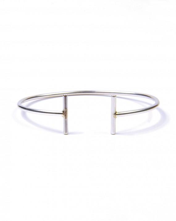Bracelet jonc ouvert argent 925 double tige - Bijoux créateur Madame Vedette