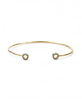 Bracelet jonc ouvert plaqué or cercles pierres turquoise - Madame Vedette