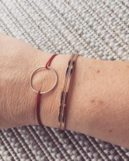 Composition bracelet cordon couleur anneau plaqué or femme - Bijoux Madame Vedette
