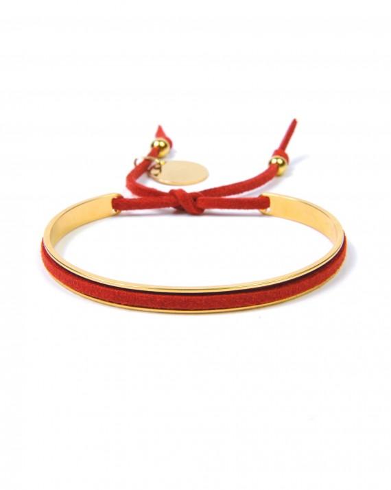 Bracelet suédine plaqué or sur jonc ouvert - Bijoux tendance pour femme - Madame Vedette