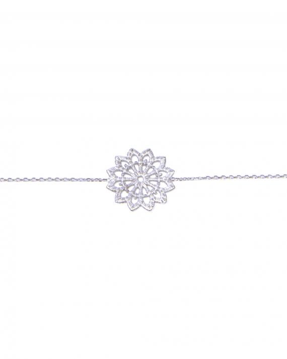 Bracelet chaîne argent 925 arabesque fleur - Bijoux fantaisie créateur - Madame Vedette