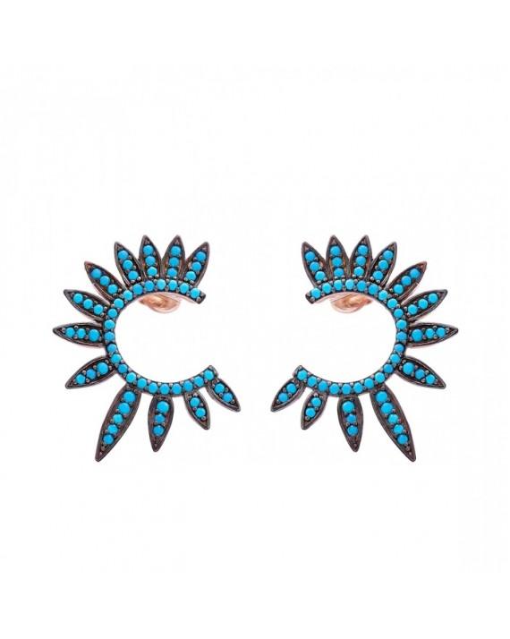 Boucles d'oreilles plaqué or rose turquoises femme - Bijoux Madame Vedette
