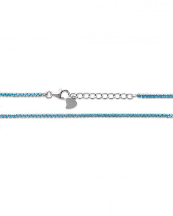 Bracelet chaîne argent 925 pierres turquoises - Bijoux fantaisie pour femme - Madame Vedette