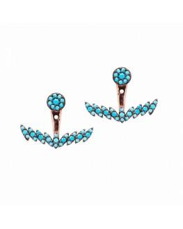 Boucles d'oreilles plaqué or rose ancre turquoises - Inspiration bijoux Madame Vedette