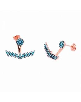 Boucles d'oreilles plaqué or rose ancre turquoises - Création tendance Madame Vedette