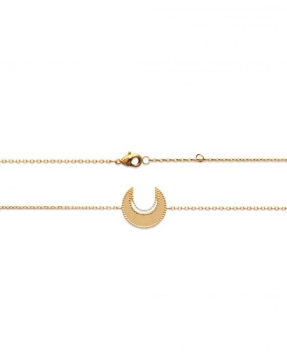 Bracelet chaîne demi lune miroir en plaqué or création femme - Bijoux Madame Vedette