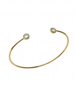 Idée cadeau - Bracelet jonc ouvert plaqué or cercles turquoises - Bijoux créateur femme - Madame Vedette