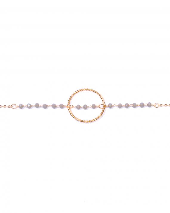 Bracelet chaîne or rose perles anneau style tressé - Bijoux créateur - Madame Vedette