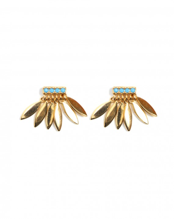 Tendance boucles d'oreilles femme plaqué or et turquoises - Bijoux créateur - Madame Vedette