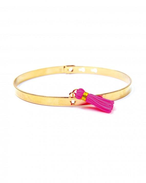Bracelet jonc ruban cadenas en plaqué or avec pompon couleur - Bijoux créateur femme - Madame Vedette