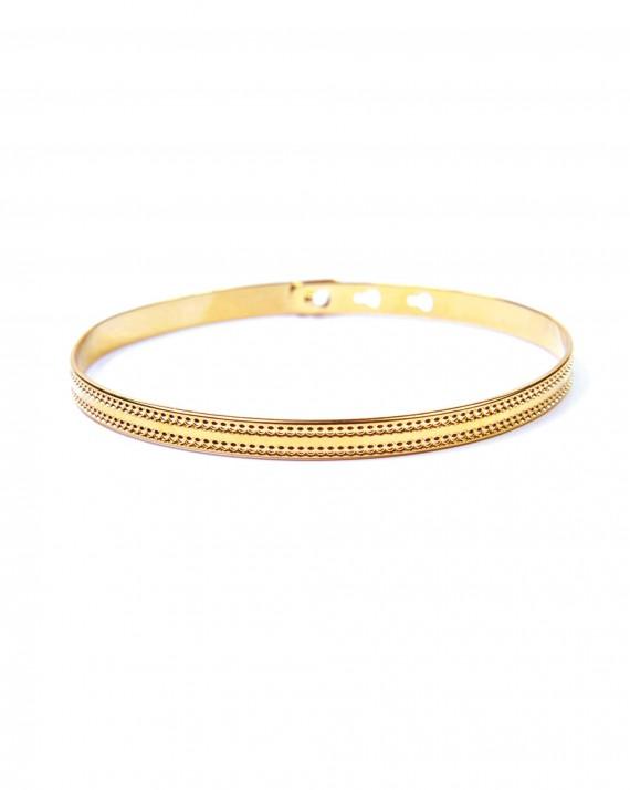 Bracelet jonc ruban cadenas plaqué or - Bijoux créateurs pour femme à offrir - Madame Vedette