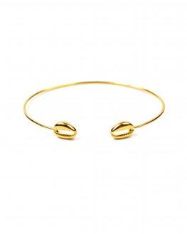 Tendance bracelet femme jonc ouvert fin coquillage plaqué or - Bijoux de créateur - Madame Vedette