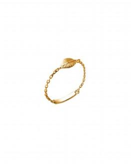 Bague chaîne feuille plaqué or pour femme - Bijoux créateurs x Madame Vedette