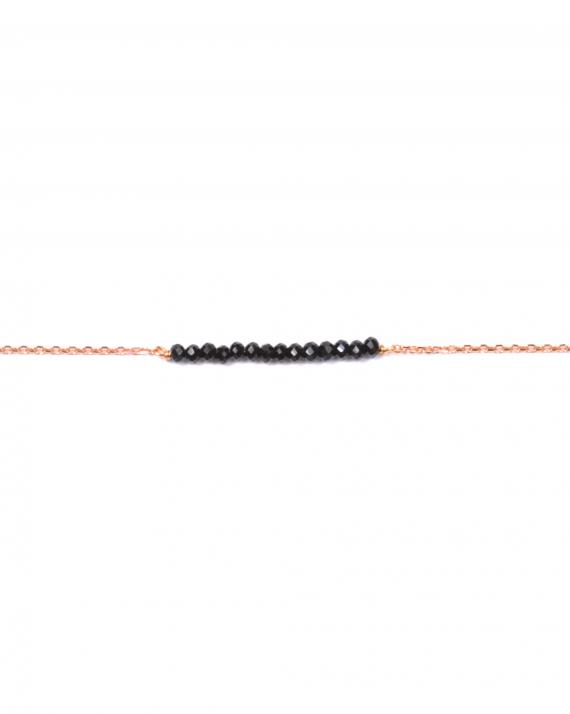 Bracelet chaîne plaqué or rose perles barrette - Madame Vedette