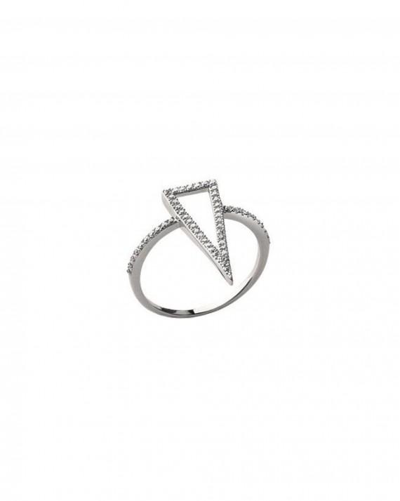 Bague triangle strass argent 925 pour femme - Création bijoux tendance - Madame Vedette