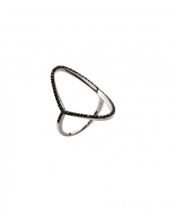 Bague femme argent 925 pierres noires micro serties - Bijoux de créateur Instagram - Madame Vedette