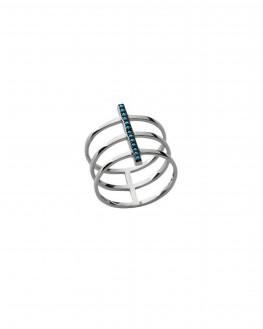 Bague tendance triple anneau argent 925 turquoises - Bijoux créateur femme - Madame Vedette