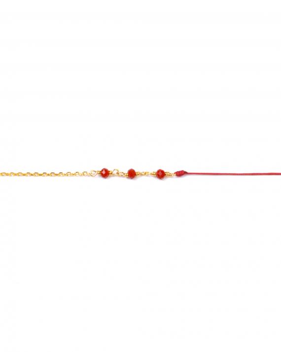 Tendance bracelet chaîne plaqué or perles et cordon - Bijoux fantaisie créateurs - Madame Vedette
