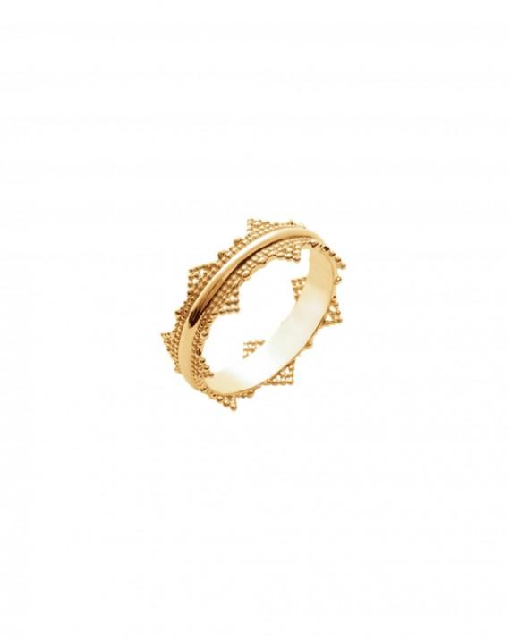 Bague ultra tendance dentelle plaqué or - Bijoux créateur femme - Madame Vedette