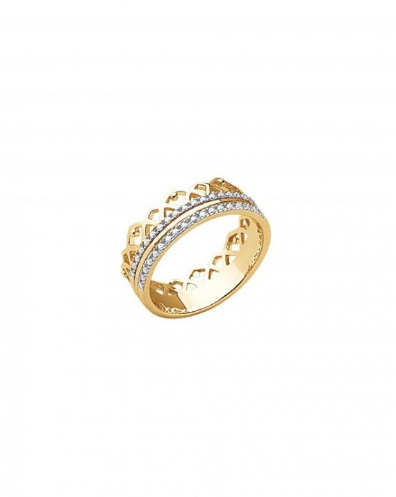 Bague couronne plaqué or et brillants - Bijoux fantaisie tendances - Madame Vedette