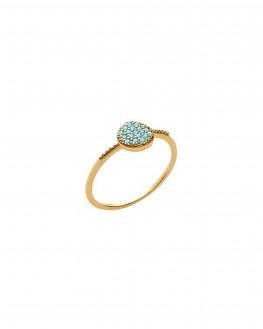 Bague fine plaqué or et pierres turquoises - Bijoux créateur femme - Madame Vedette