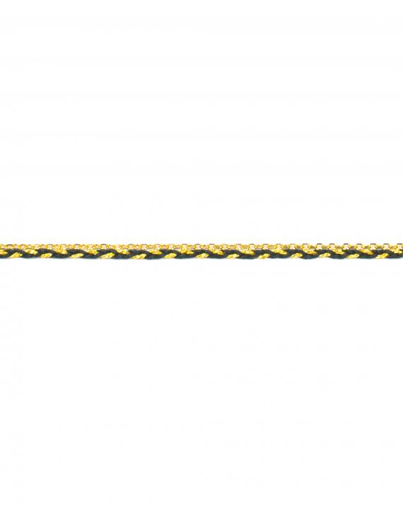 Bracelet chaîne fine plaqué or cordon tressé - Bijoux création Madame Vedette