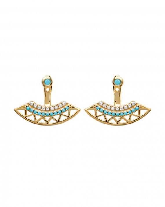 Boucles d'oreilles tendance plaqué or turquoises brillants - Bijoux créateur femme - Madame Vedette