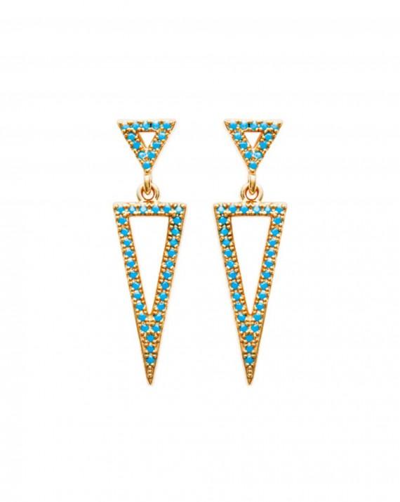 Boucles d'oreilles pendantes triangles plaqué or turquoises - Bijoux créateurs - Madame Vedette