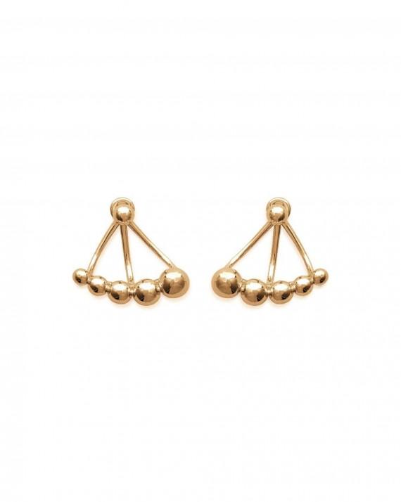 Boucles d'oreilles petit balancier dorées or fin - Bijoux créateur femme - Madame Vedette