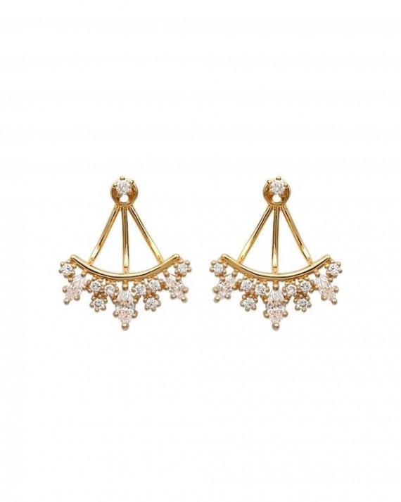 Boucles d'oreilles plaqué or grappe pavé brillants - Bijoux tendances du moment - Madame Vedette
