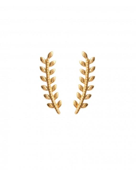 Boucles d'oreilles montantes lauriers plaqué or - Bijoux tendances créateur - Madame Vedette