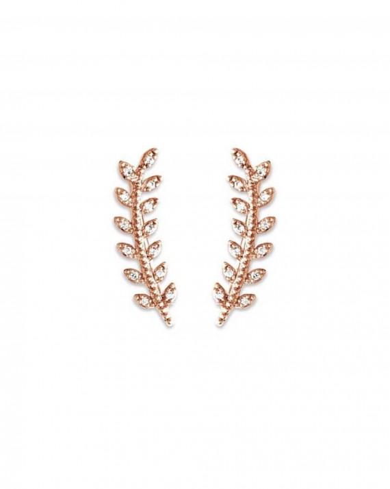 Boucles d'oreilles lauriers dorées or fin et brillants must have du moment - Bijoux créateur - Madame Vedette