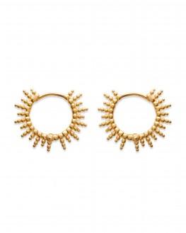 Tendance boucles d'oreilles créoles solaires plaqué or - Création bijoux femme - Madame Vedette