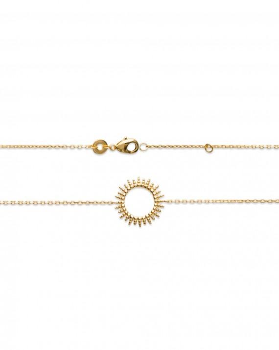 Acheter bracelet femme chaîne motif solaire plaqué or - Collection de bijoux créateur - Madame Vedette