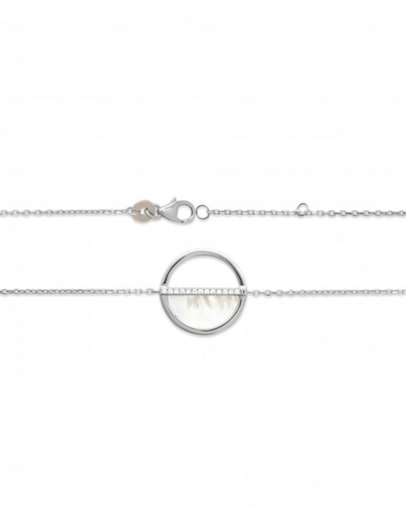 Bracelet chaîne argent 925 nacre et brillants - Bijoux créateur tendance - Madame Vedette