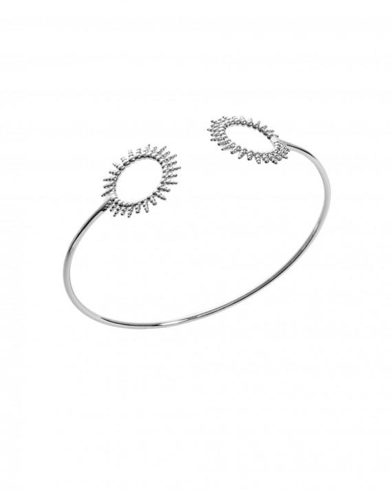 Bracelet jonc ouvert argent 925 motifs solaire - Bijoux créateur femme - Madame Vedette