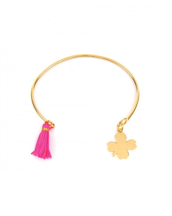 Bracelet jonc ouvert plaqué or pampille trèfle et pompon - Madame Vedette