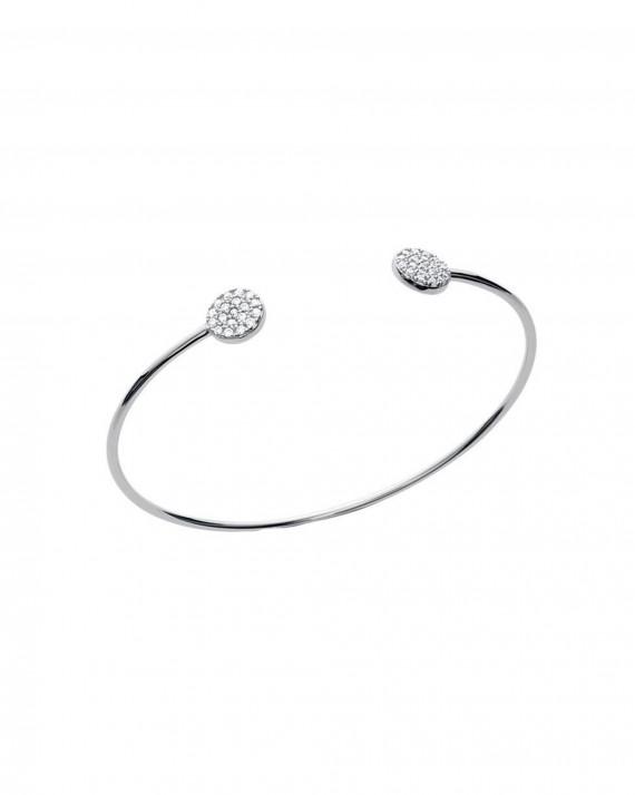 Création bracelet jonc ouvert pastilles brillants zircon - Bijoux fantaisie x Madame Vedette