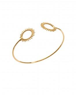 Bracelet jonc ouvert plaqué or motifs soleil - Nouveauté bijoux créateur - Madame Vedette