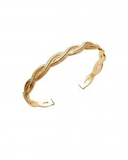 Bracelet jonc ouvert tressé plaqué or à la mode sur Instagram - Bijoux créateur - Madame Vedette