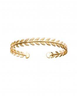 Bracelet jonc ouvert couronne lauriers plaqué or création femme - Bijoux Madame Vedette