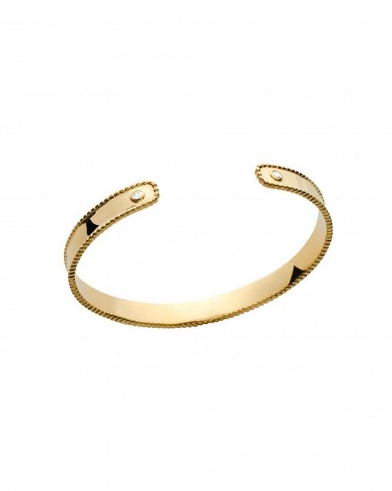 Tendance bracelet jonc ouvert plaqué or brillants zircon création pour femme - Bijoux Madame Vedette