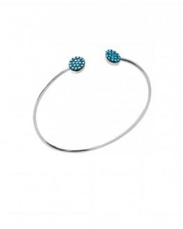 Nouveauté bracelet femme jonc ouvert en argent 925 duo pastilles turquoises - Bijoux de créateur - Madame Vedette
